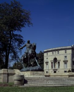 "Statue of Union general Philip Sheridan at Sheridan Circle on Massachusetts Avenue's ""Embassy Row,"" in front of the Egyptian ambassador's residence, Washington, D.C. (by Carol M. Highsmith; LOC: https://www.loc.gov/item/2011633461/)"