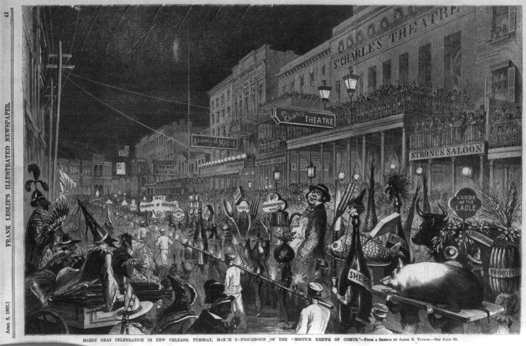 "Mardi Gras celebration in New Orleans, Tuesday, March 6 - Procession of the ""Mistick Krewe of Comus"" [Epicurean floats] ( Illus. in: Frank Leslie's illustrated newspaper, vol. 24, no. 601 (1867 Apr. 6), p. 41. )"