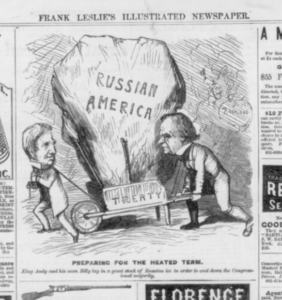 "Seward's purchase (Full page of advertisements and a political cartoon ""Preparing for the heated term; King Andy and his man Billy lay in a great stock of Russian ice in order to cool down the Congressional majority""; caricature of Pres. Andrew Johnson and Sec. of State William Seward carrying huge iceberg of ""Russian America"" in a wheelbarrow ""treaty""; refers to Seward's purchase of Alaska in Dec. 1866 ( Illus. in: Frank Leslie's illustrated newspaper, vol. 24, no. 603 (1867 Apr. 20), p. 80. ; LOC: https://www.loc.gov/item/99614050/)"