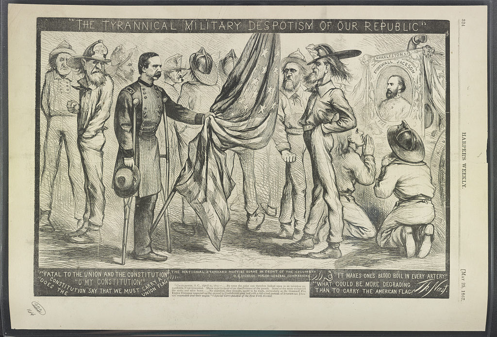 """The tyrannical military despotism of our Republic"" / Th. Nast. ( Illus. in: Harper's weekly, v. XI, no. 543 (1867 May 25), p. 324.; LOC: https://www.loc.gov/item/2016651391/)"