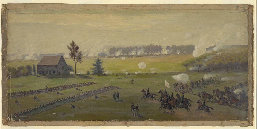 The battle of Gettysburg (by Edwin Forbes; LOC: http://www.loc.gov/pictures/item/2004661440/)