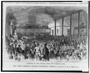 The first African church, Richmond, Virginia--Interior of the church, from the western wing / drawn by W.L. Sheppard. ( Illus. in: Harper's weekly, v. 18, 1874 June 27, p. 545; LOC: https://www.loc.gov/item/97507948/) )