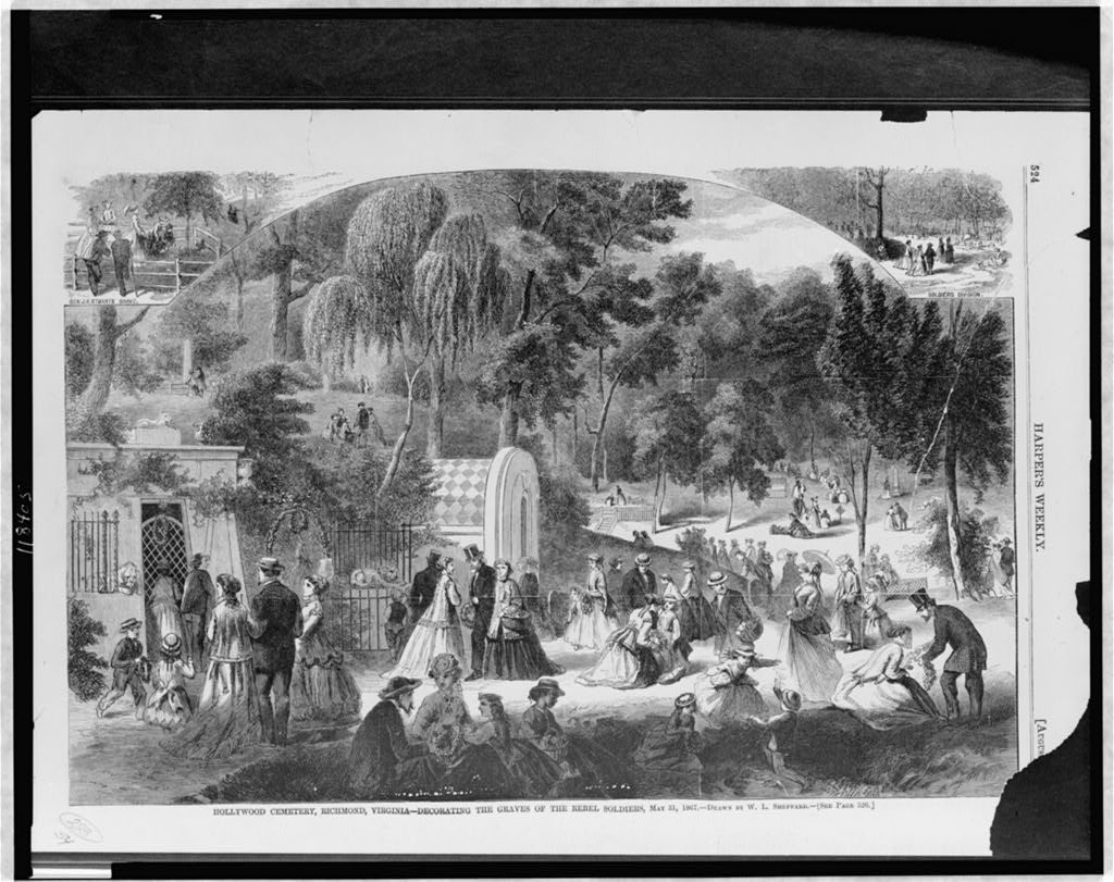 Hollywood Cemetery, Richmond, Virginia - decorating the graves of the rebel soldiers, May 31, 1867 / drawn by W.L. Sheppard. ( Illus. in: Harper's weekly, v. 11, 1867 Aug. 17, p. 524; LOC: https://www.loc.gov/item/97507943/)