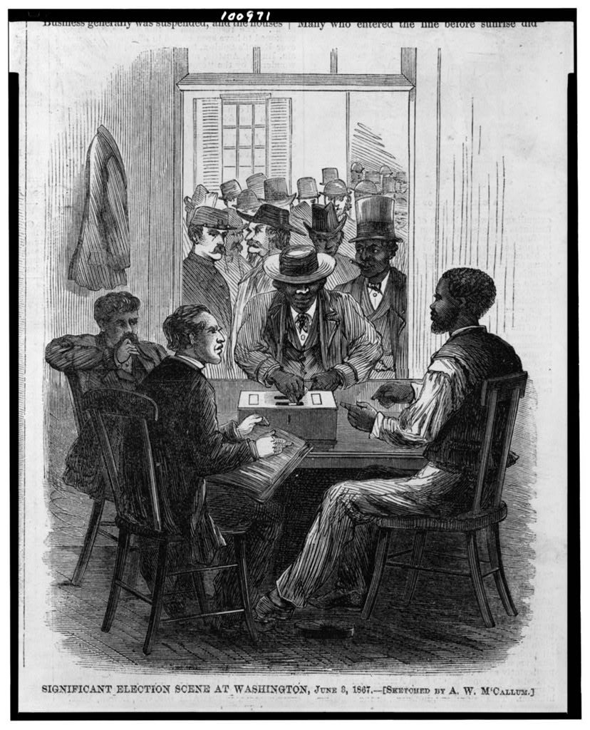 Significant election scene at Washington, June 3, 1867 / sketched by A.W. M'Callum. ( Illus. in: Harper's weekly, 1867 June 22, p. 397.; LOC: https://www.loc.gov/item/90715767/)