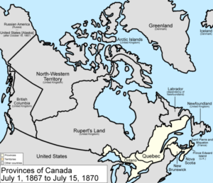 Map of the provinces of Canada as they were from 1867 to 1870 (https://en.wikipedia.org/wiki/File:Canada_provinces_1867-1870.png)