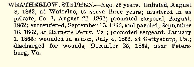 Stephen Weatherlow (http://dmna.ny.gov/historic/reghist/civil/rosters/Infantry/126th_Infantry_CW_Roster.pdf)