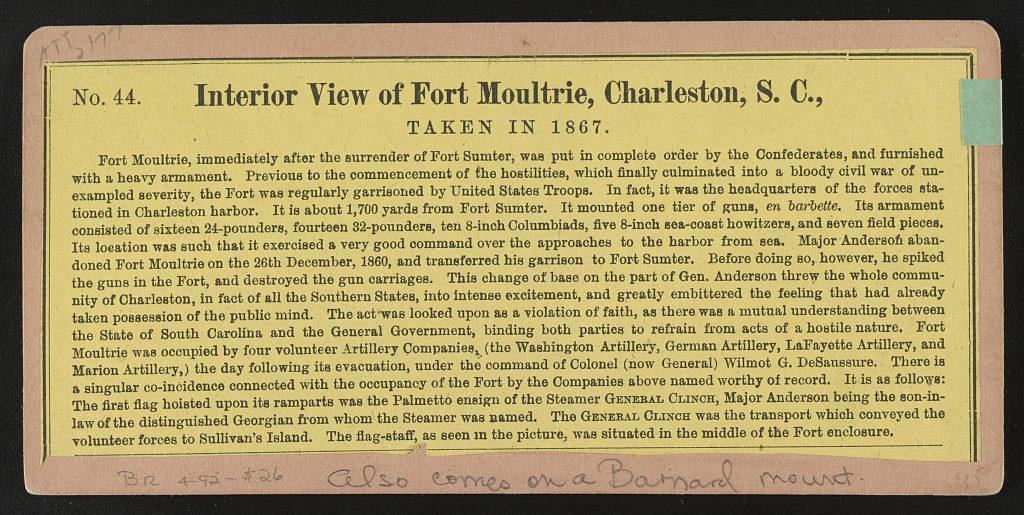 Interior view of Fort Moultrie, Charleston, S.C., taken in 1867 (LOC: https://www.loc.gov/item/2015650228/)