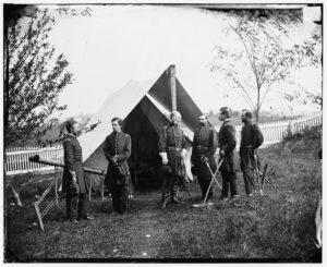 Culpeper, Virginia. Gen. Marsena R. Patrick and staff (Sept. 1863, by Timothy H. O'Sullivan; LOC: https://www.loc.gov/item/cwp2003006460/PP/)
