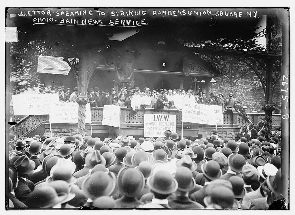 J.J. Ettor speaking to striking barbers -- Union Square, N.Y. (1913; LOC: https://www.loc.gov/item/ggb2005012880/)