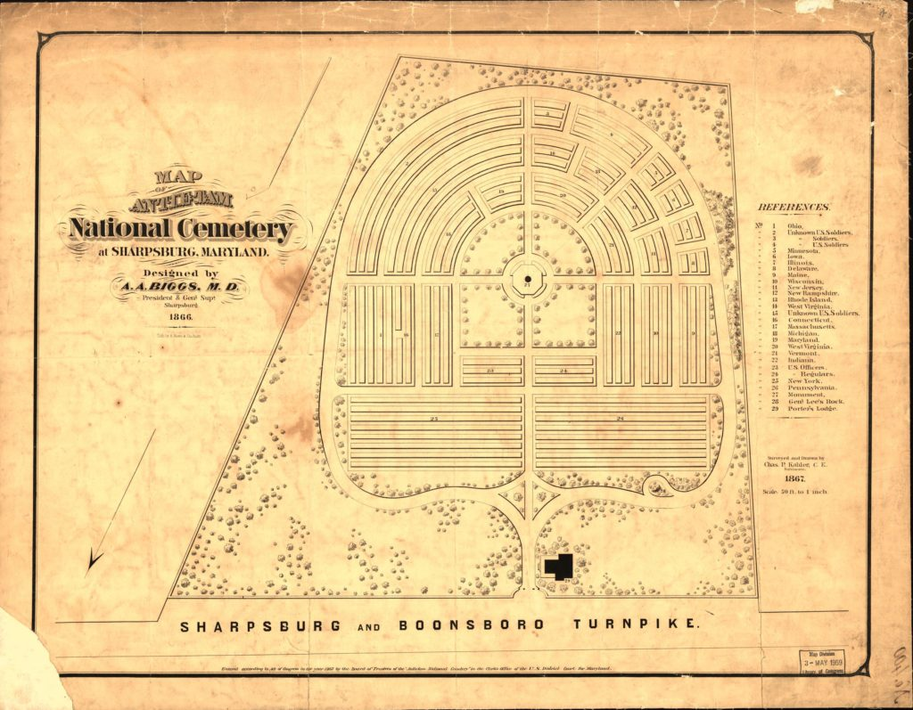 Map of Antietam National Cemetery at Sharpsburg, Maryland (1867 LOC: https://www.loc.gov/item/99447377/)