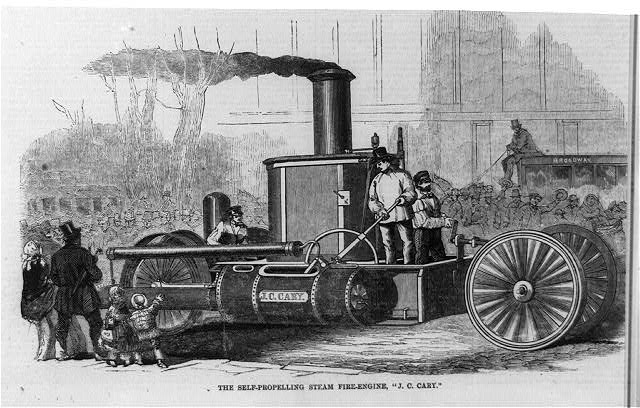 "The self-propelling steam fire-engine, ""J.C. Cary"" ( Illus. in: Harper's Weekly, v. 2, (1858 November 20), p. 749. ; LOC: https://www.loc.gov/item/99614176/)"