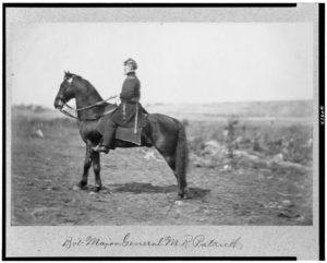 Bv't Major General M.R. Patrick, full-length portrait, on horseback, facing left (by Timothy H. O'Sullivan, 1863 April, printed later; LOC: https://www.loc.gov/item/91482899/)