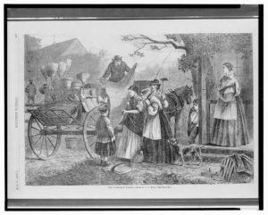 The peddler's wagon / drawn by C.G. Bush. (Harper's weekly, v. 12, no. 599 (1868 June 20), p. 393; LOC: https://www.loc.gov/item/2004669981/)