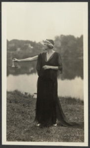 Justice. Miss Florence Hanlin as Justice in the Dance Drama presented at Seneca Falls, on July 20th in connection with the National Woman's Party's seventy-fifth anniversary celebration of Equal Rights. (July 20, 1923; LOC: https://www.loc.gov/item/mnwp000020/)
