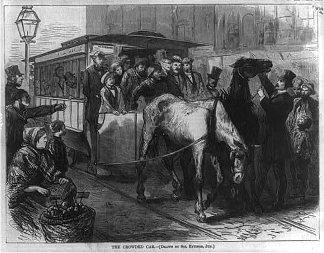 The Crowded car [Pair of horses unable to pull overcrowded street car in New York City] (Illus. in: Harper's Weekly, v. 16, (1872 September 21), p. 741.; LOC: https://www.loc.gov/item/99614207/)