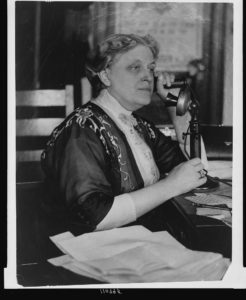 [Carrie Chapman Catt, half-length portrait, seated, facing left, on telephone] (between 1909 and 1932; LOC: https://www.loc.gov/item/94506343/)