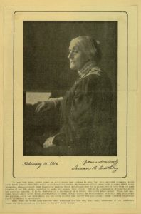 Susan B. Anthony, portrait with Carrie Chapman Catt quotation on Anthony's courage and optimism (LOC: http://memory.loc.gov/cgi-bin/query/h?ammem/rbcmillerbib:@field(DOCID+@lit(rbcmiller001829)))