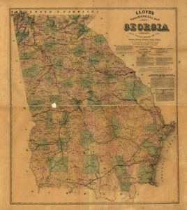 Lloyd's topographical map of Georgia from state surveys before the war showing railways, stations, villages, mills, &c. (1864; LOC: https://www.loc.gov/item/99447154/)