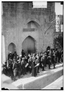 Entry of Field Marshall Allenby, Jerusalem, December 11, 1917. Franciscan monk reading the proclamation in French (LOC: https://www.loc.gov/item/mpc2004000440/PP/)