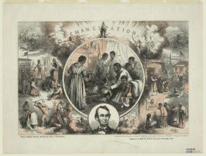 Emancipation / Th. Nast ; King & Baird, printers, 607 Sansom Street, Philadelphia. (by Thomas Nast, 1865; LOC: https://www.loc.gov/item/2004665360/)