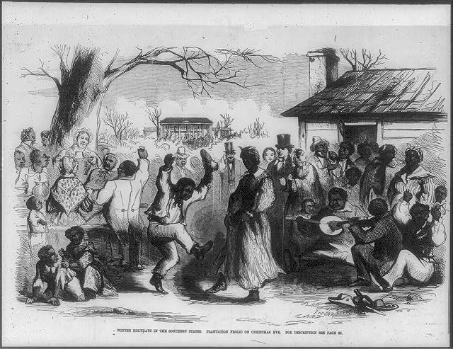 Winter holidays in the southern states. Plantation frolic on Christmas Eve ( Illus. in: Frank Leslie's Illustrated Newspaper, 1857 Dec. 26, p. 64. ; LOC: https://www.loc.gov/item/2006687123/)