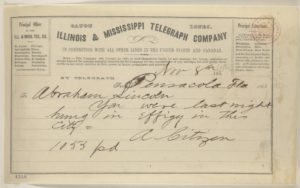 """Abraham Lincoln papers: Series 1. General Correspondence. 1833-1916: Anonymous. """"A Citizen"""" to Abraham Lincoln, Thursday, November 08, 1860 (Telegram reporting Lincoln was hanged in effigy) (November 8, 1860 ; LOC: https://www.loc.gov/item/mal0435600/)"""