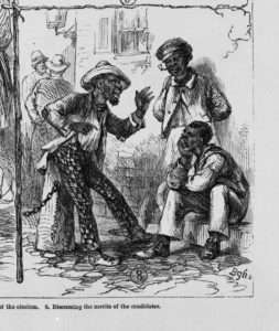The operations of the registration laws and Negro [suffr]age in the South / from sketches by James E. Taylor. ( Illus. in: Frank Leslie's illustrated newspaper, 1867 Nov. 30, pp. 168-169. ; LOC: https://www.loc.gov/item/96513248/)