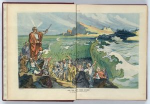 """""""And the waters were divided"""" / Kep. (Illus. in: Puck, v. 72, no. 1848 (1912 July 31), centerfold. ; LOC: https://www.loc.gov/item/2011649369/)"""