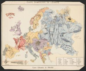 Carte symbolique de l'Europe Guerre libératrice de 1914-1915 / / B. Crétée, 1914. ([Paris] : Éditions G.D., [1915]; LOC: https://www.loc.gov/item/2016647864/)