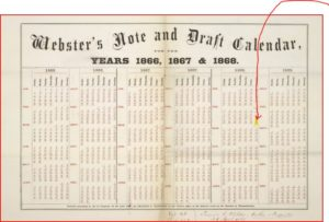 Webster's note and draft calendar for the years 1866, 1867 & 1868. [n. p. c1866]. (1866; LOC: https://www.loc.gov/item/rbpe.0720200a/)