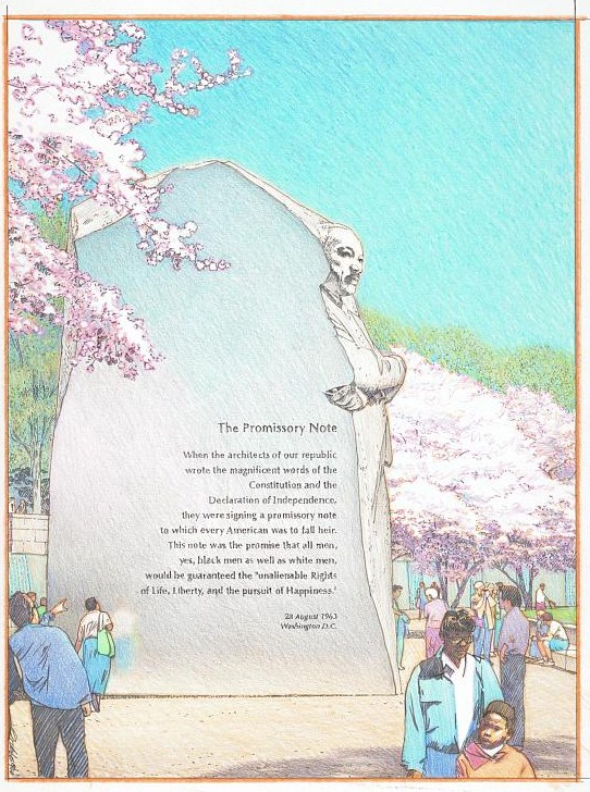 [Martin Luther King, Jr., Memorial, Washington, D.C. The promissory note] / Christopher Grubbs, illustrator. (LOC: https://www.loc.gov/item/2016647751/)