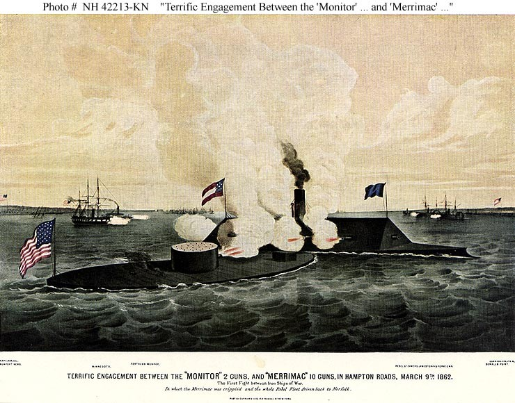 "NH 42213-KN ""Terrific Engagement Between the 'Monitor' 2 Guns, and 'Merrimac' 10 Guns, in Hampton Roads, March 9th 1862."" (https://www.history.navy.mil/our-collections/photography/numerical-list-of-images/nhhc-series/nh-series/NH-42000/NH-42213-KN.html)"