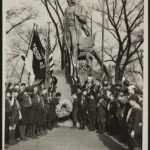 [Boy's Clubs in front of Lincoln National Monument, Illinois making the scout's honor sign and presenting a wreath. Copy 2.] (LOC: https://www.loc.gov/item/scsm000890/)