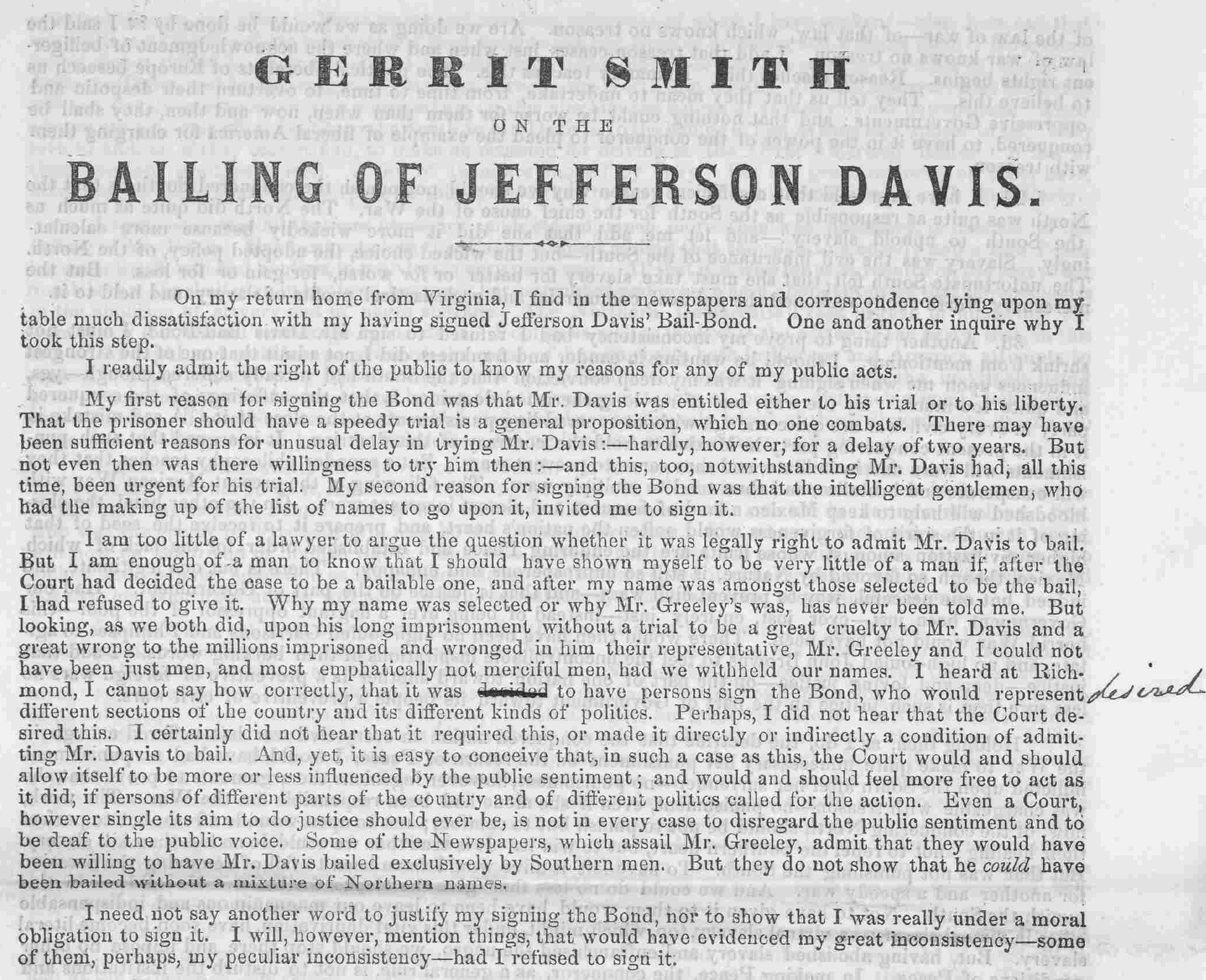 Blue Gray Review American Civil War More Or Less Page 10 Bald Eagle Diagram Galleryhipcom The Hippest Galleries Image 1 Of Gerrit Smith On Bailing Jefferson Davis Peterboro